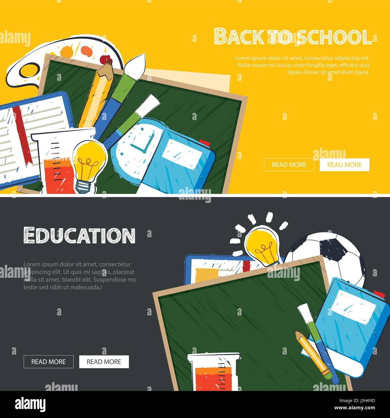 education banner and back to school background template - Stock Image