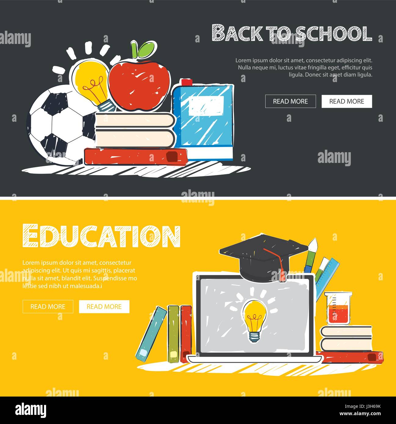 Education Banner And Back To School Background Template Stock Vector Image Art Alamy