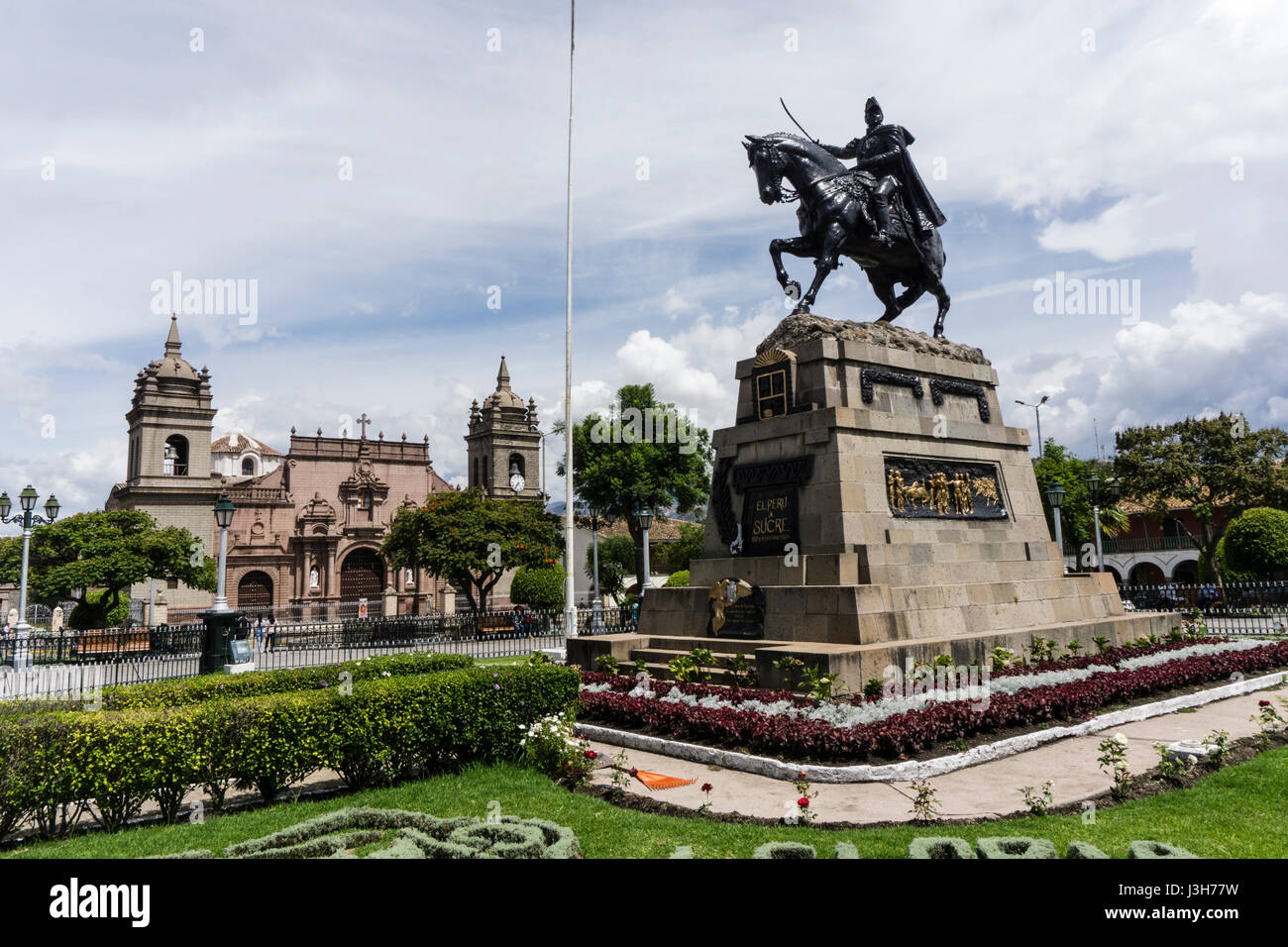 Plaza de Armas of Ayacucho city and the Monument to General San Martín, Peru. Stock Photo