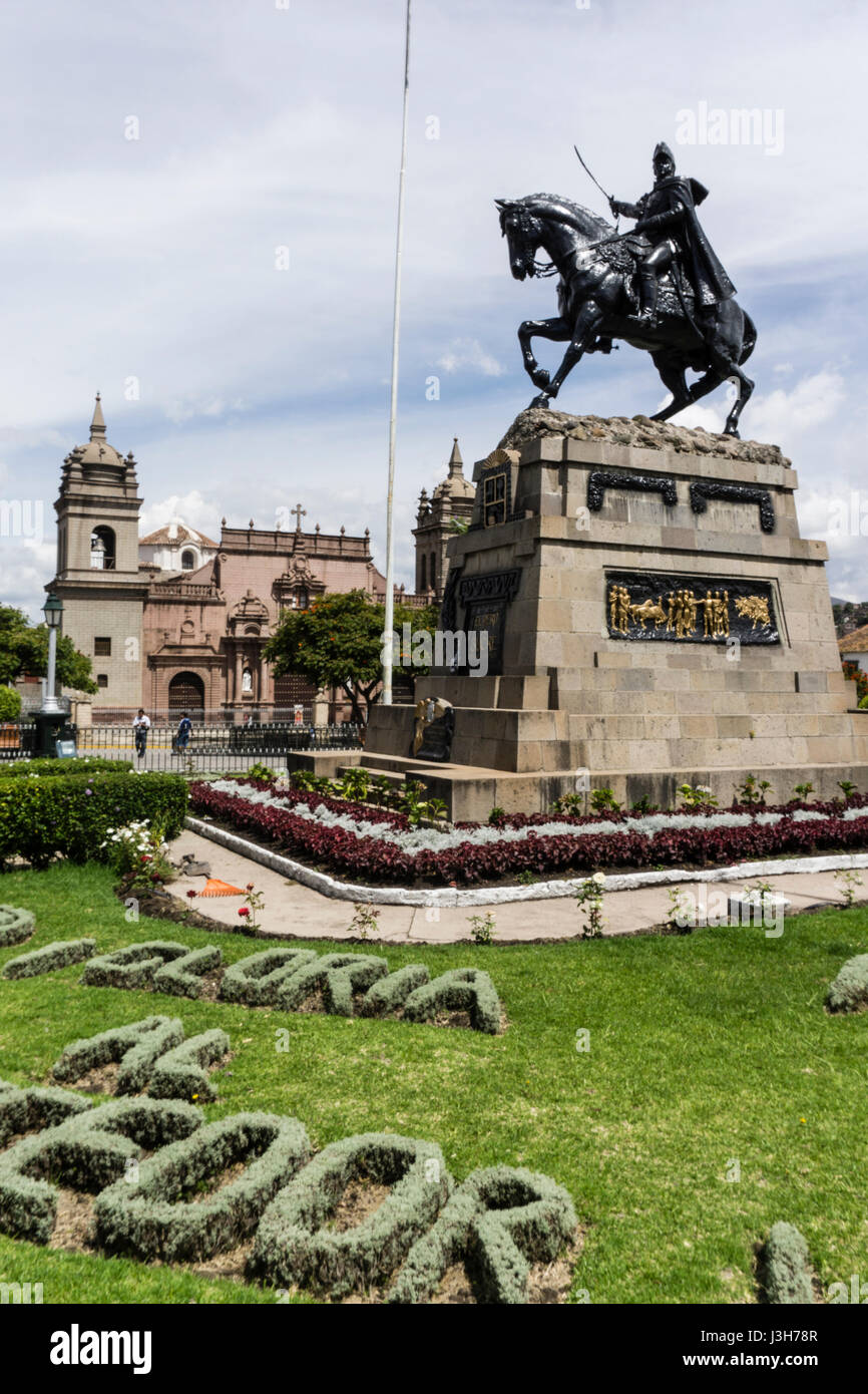 Plaza de Armas of Ayacucho city and the Monument to General San Martín, Peru. - Stock Image