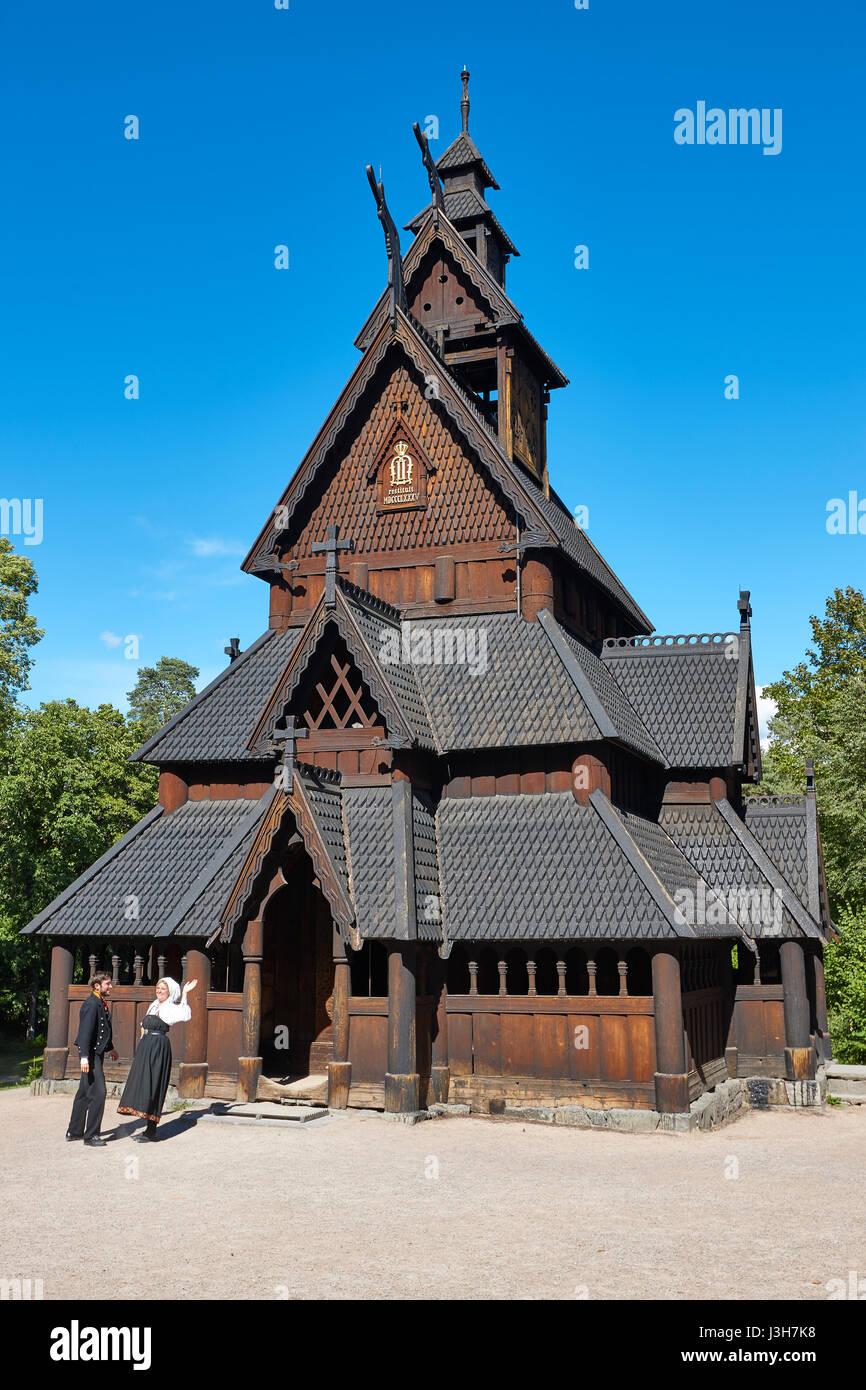 Norwegian Oslo restored stave church. Gol. Bygdoy. Norsk Folkemuseum. Vertical - Stock Image