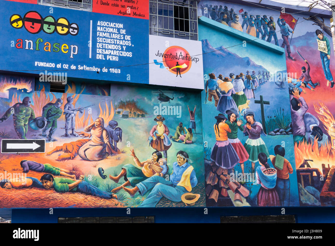 ANFASEP National Association of Relatives of Kidnapped, Detained and Disappeared Peru in Ayacucho city, Peru. - Stock Image