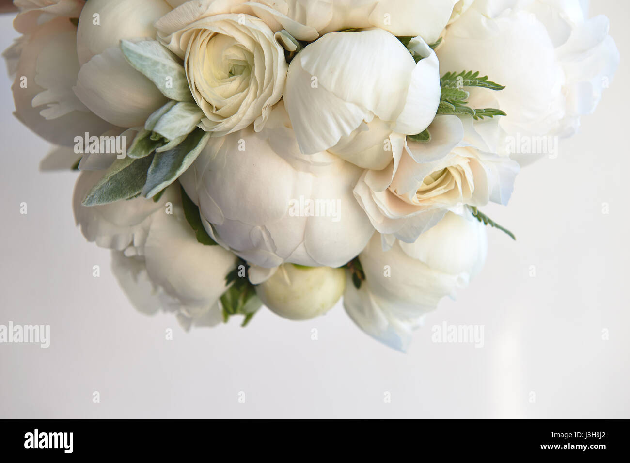 Wedding bouquet of white peonies and ranunculuses.Wedding floristry - Stock Image