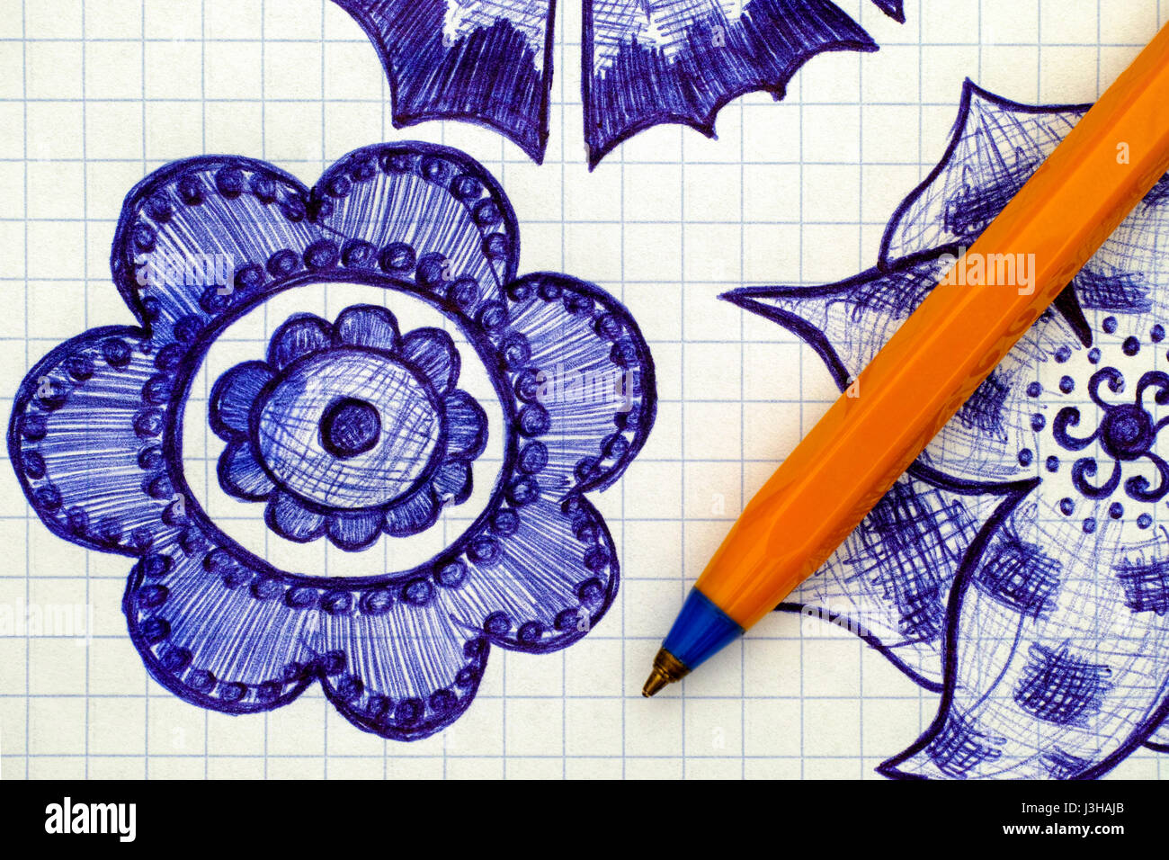 Close-up of hand drawn flower on sheet of checkered paper with pen. Doodle style. - Stock Image