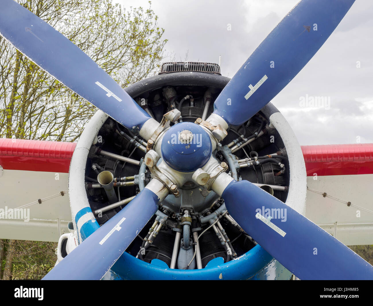 A Russian built Antonov An-2TP biplane built in 1949 for passenger and freight transport. This privcately owned - Stock Image