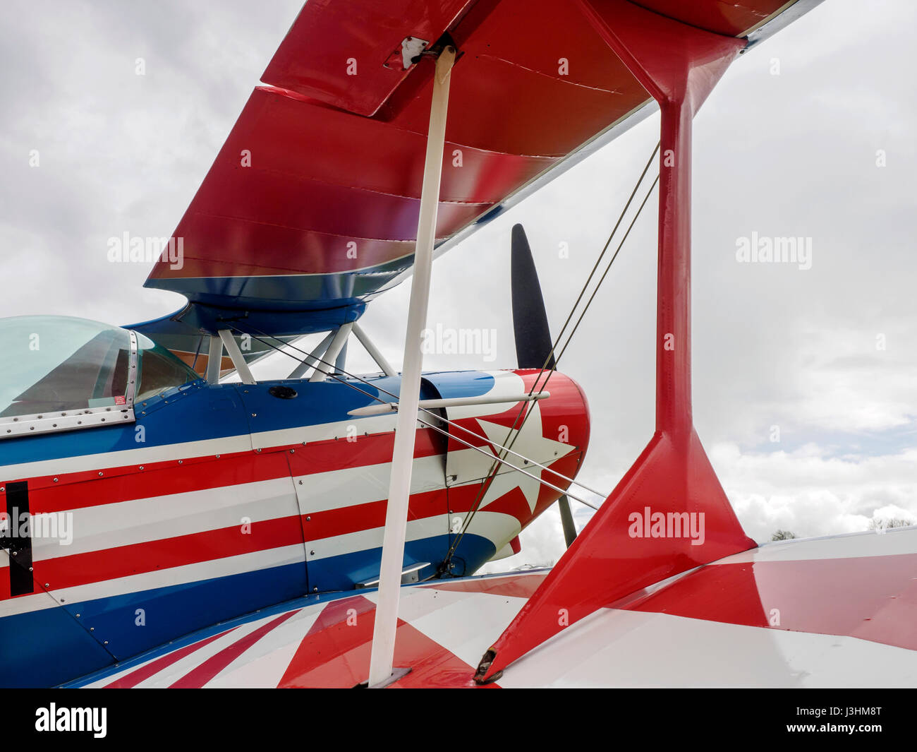 A Pitts S-1S aerobatic bi-plane registration G-BSRH and desiged by Curtis Pitts in the 1940's parked at Popham - Stock Image