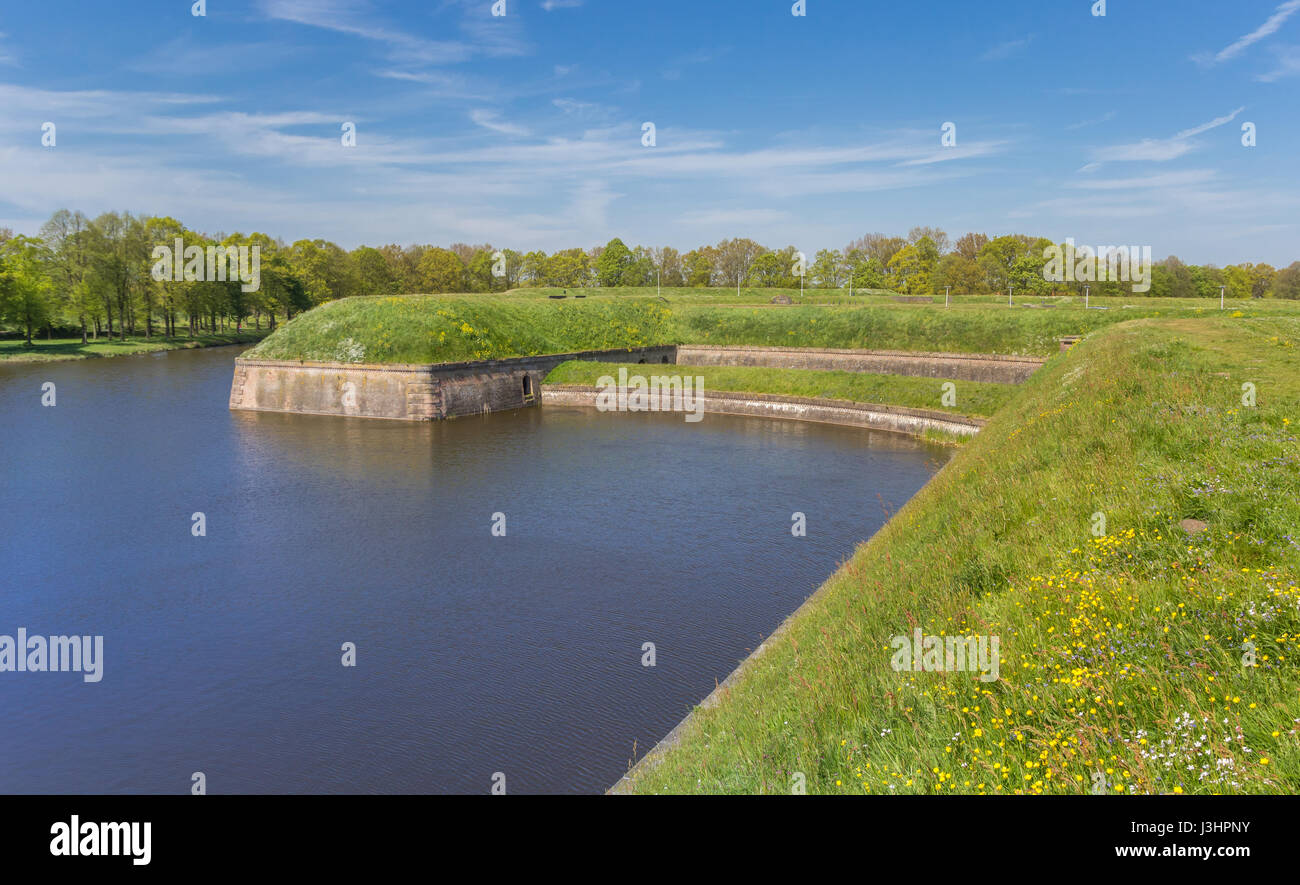 Rampart around the historic city of Naarden, The Netherlands - Stock Image