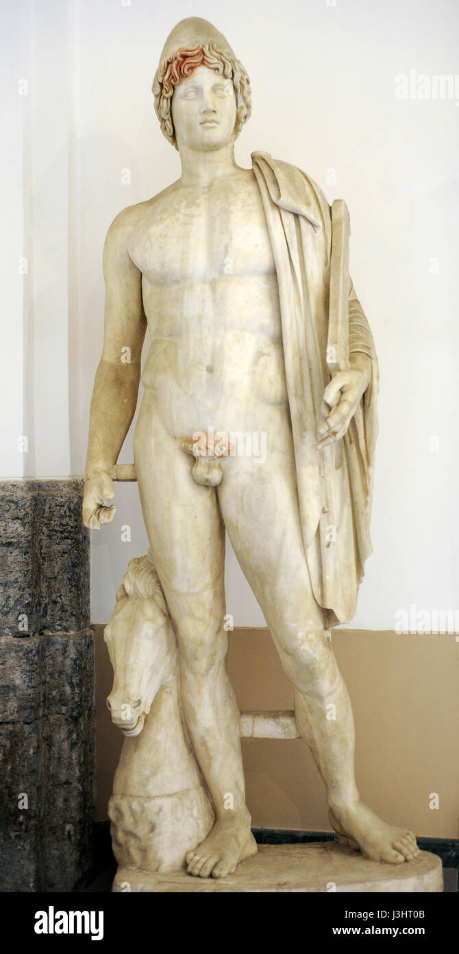 Colossal statues of Dioscuri. Pentelic marble. From Baia, 2nd century AD. One of the twins Castor and Pollux. National - Stock Image