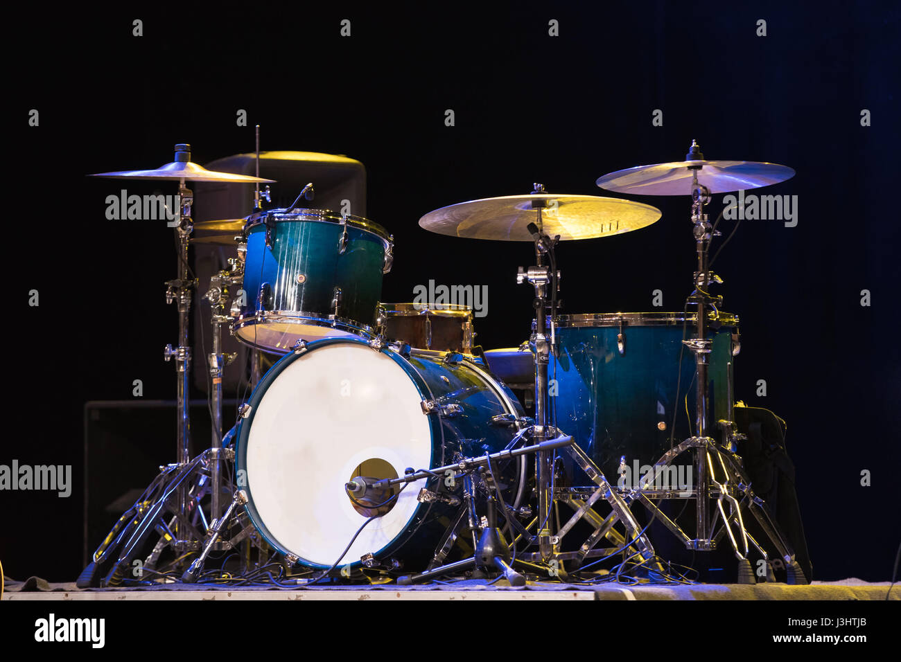 Drum Set On A Stage At Dark Background Musical Drums Kit On Stage