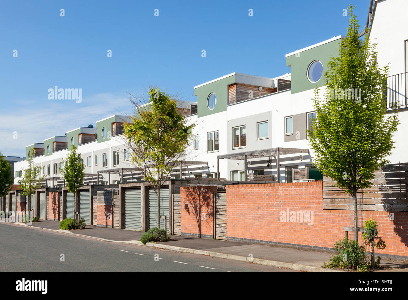 Eco friendly sustainable housing development at Fraser Road and Green Street, Nottingham, England, UK - Stock Image