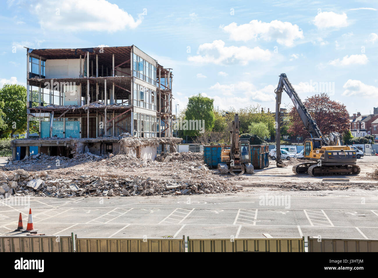 Demolition of the CLASP building at Nottinghamshire County Council, County Hall, West Bridgford, Nottinghamshire, - Stock Image