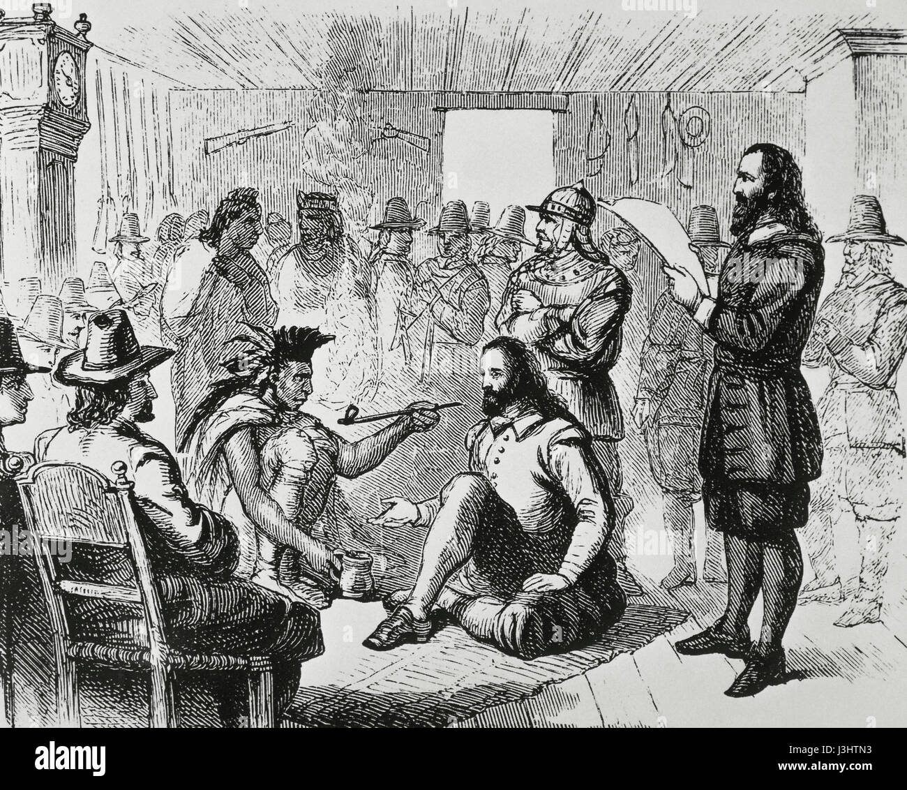1581-1661), sachem of the Wampanoags, smoking a ceremonial pipe with the  Plymouth Colony Governor, John Carver (before 1584-1621). Plymouth 1621.  Engraving.