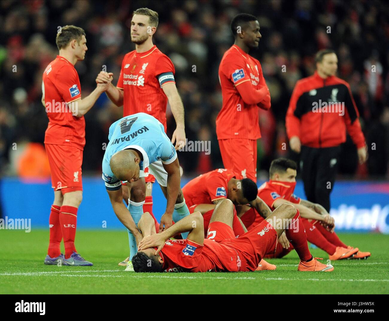 A DEJECTED EMRE CAN OF LIVERPO LIVERPOOL V MANCHESTER CITY WEMBLEY STADIUM LONDON ENGLAND 28 February 2016 - Stock Image