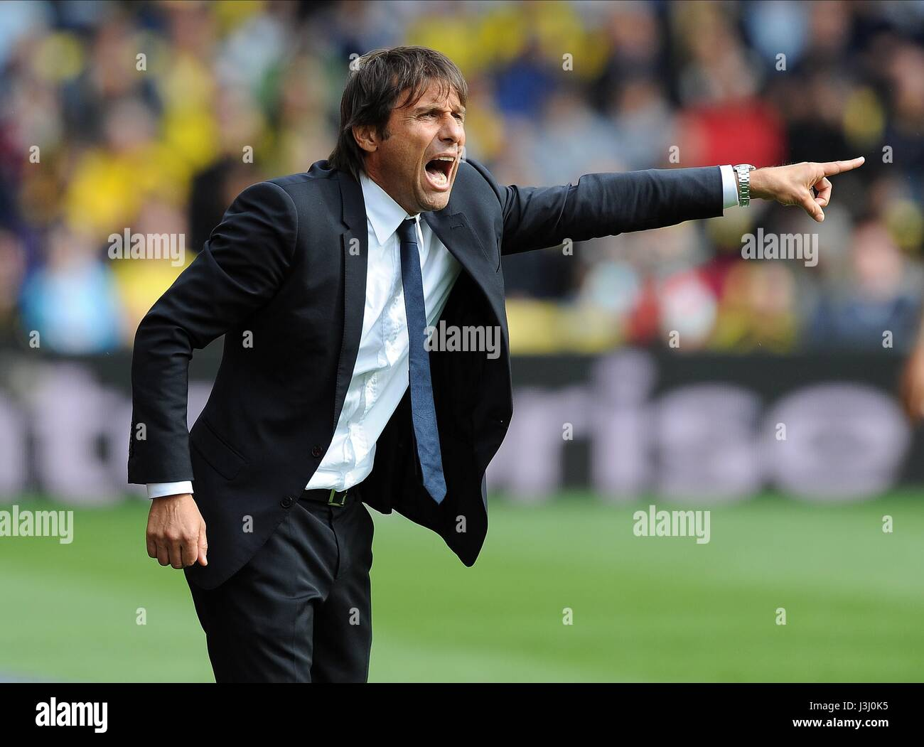 CHELSEA MANAGER ANTONIO CONTE WATFORD V CHELSEA VICARAGE ROAD STADIUM  WATFORD ENGLAND 20 August 2016 - Stock Image