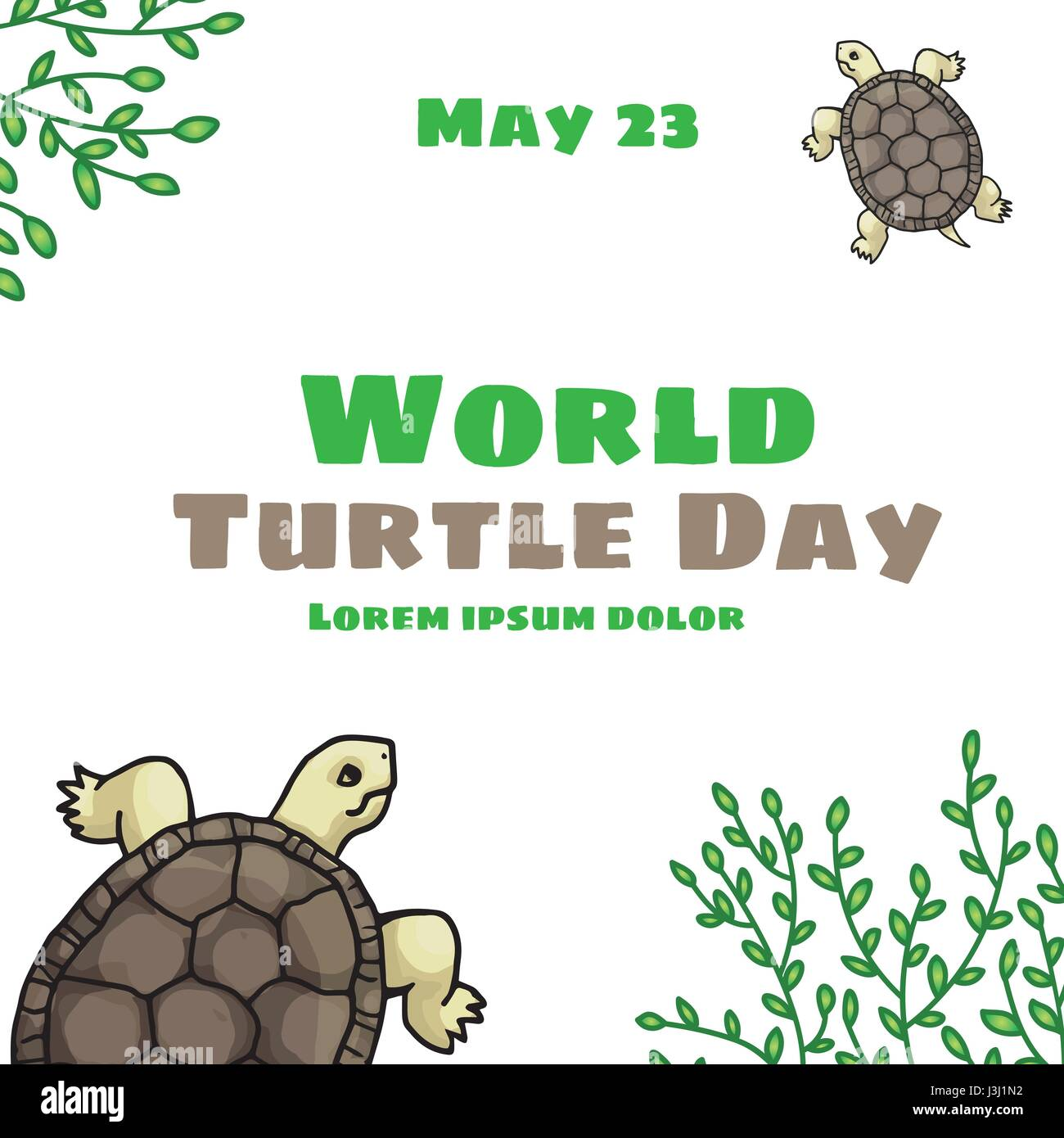 World Turtle Day, May 23. Tortoise, land-dwelling reptile with green tree branches. Vector hand drawn illustration, - Stock Vector