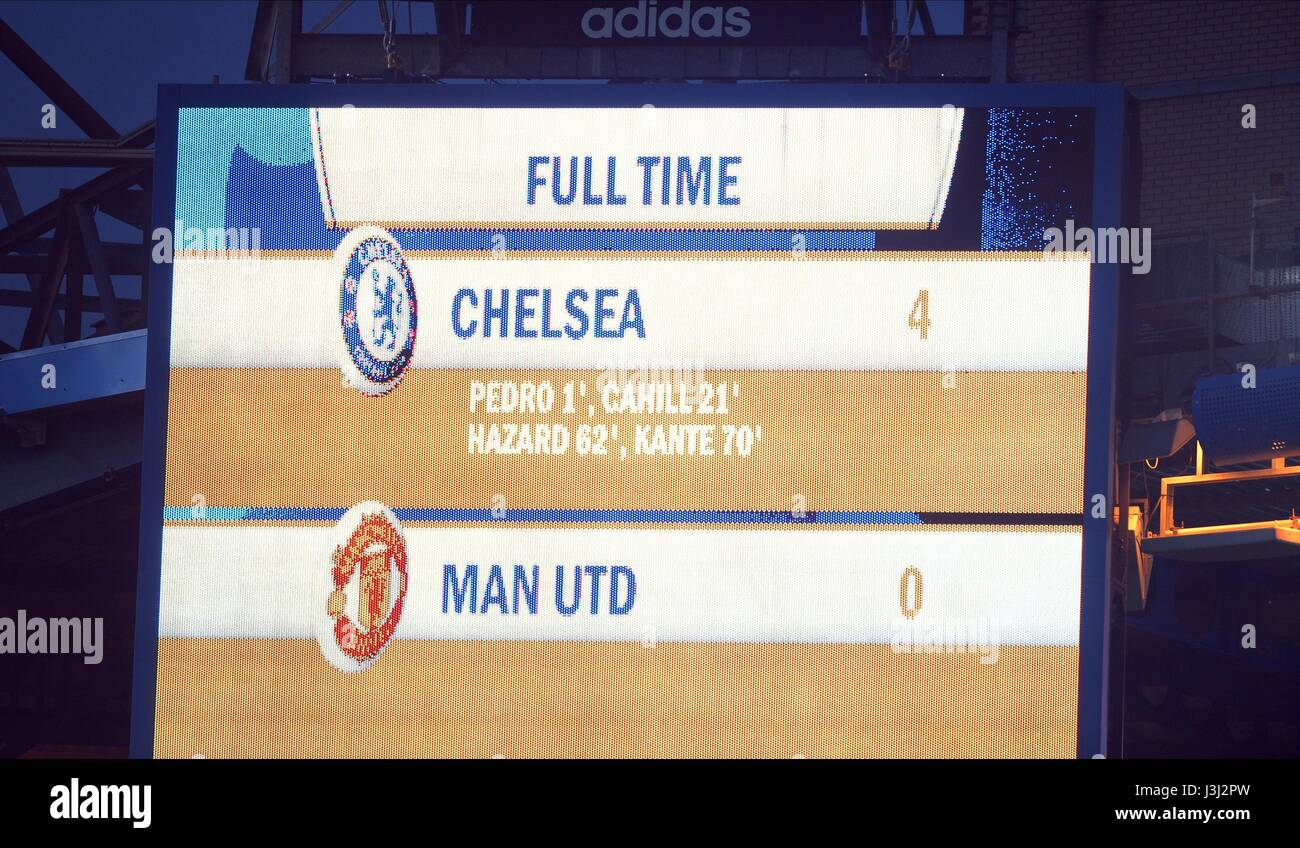 Scoreboard 10 Stock Photos Images Alamy Circuit The At End Of T Chelsea V Manchester United Stamford Bridge Stadium London England