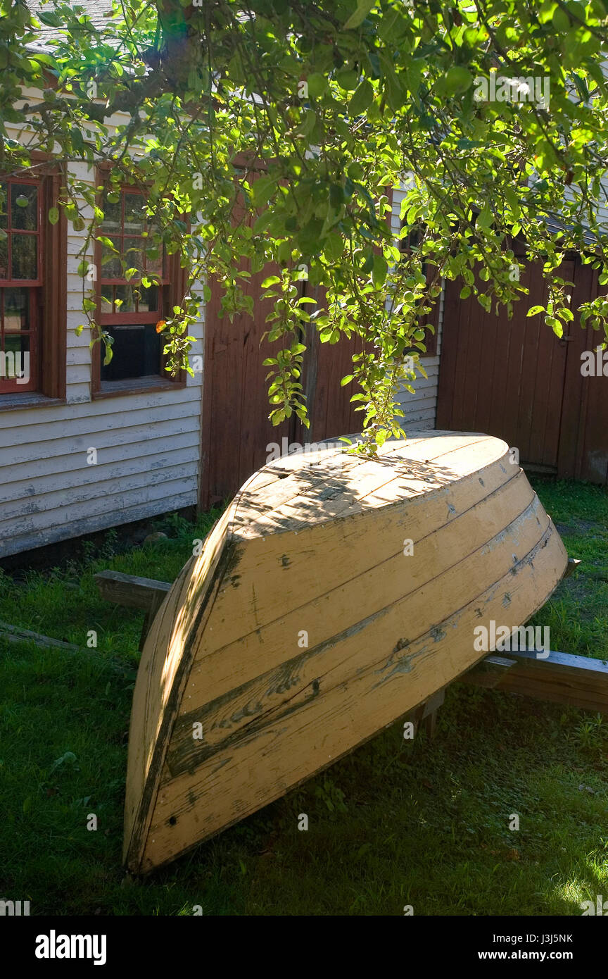 Strawbery Banke   Portsmouth, NH   A Dory In Storage   Stock Image