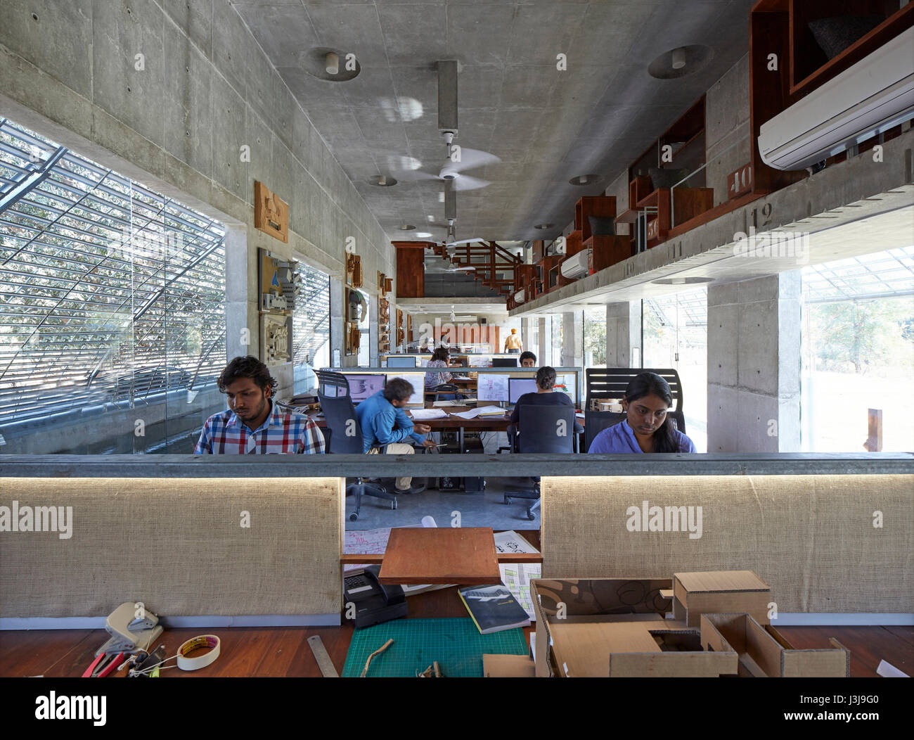 Interior studio view with staff. The Pool Studio of Matharoo Associates, Ahmedabad, India. Architect: Matharoo Associates, - Stock Image