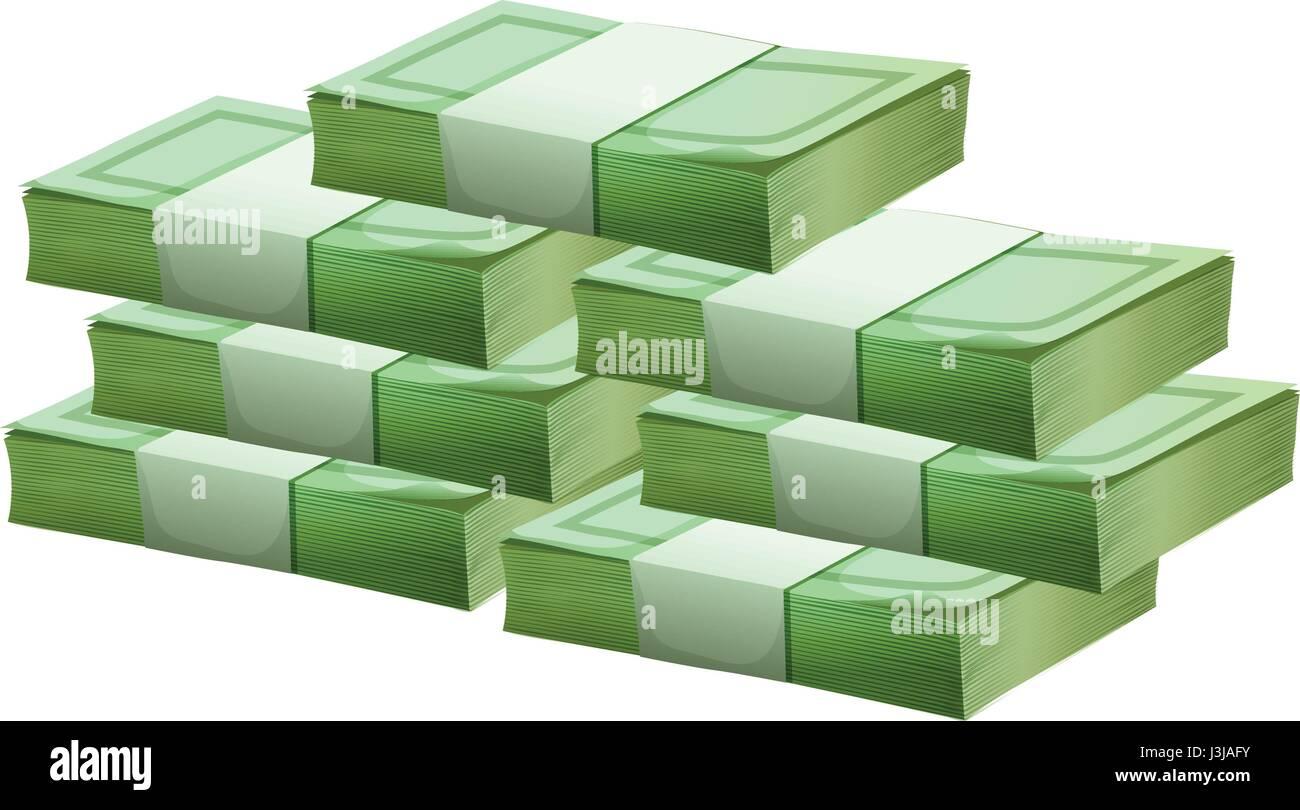 Pile of cash on white background illustration - Stock Vector