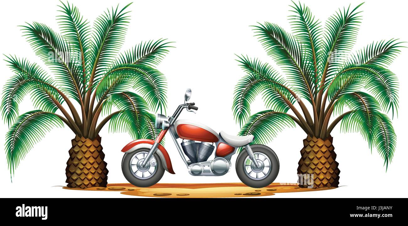 Classic motorcycle in garden illustration - Stock Vector