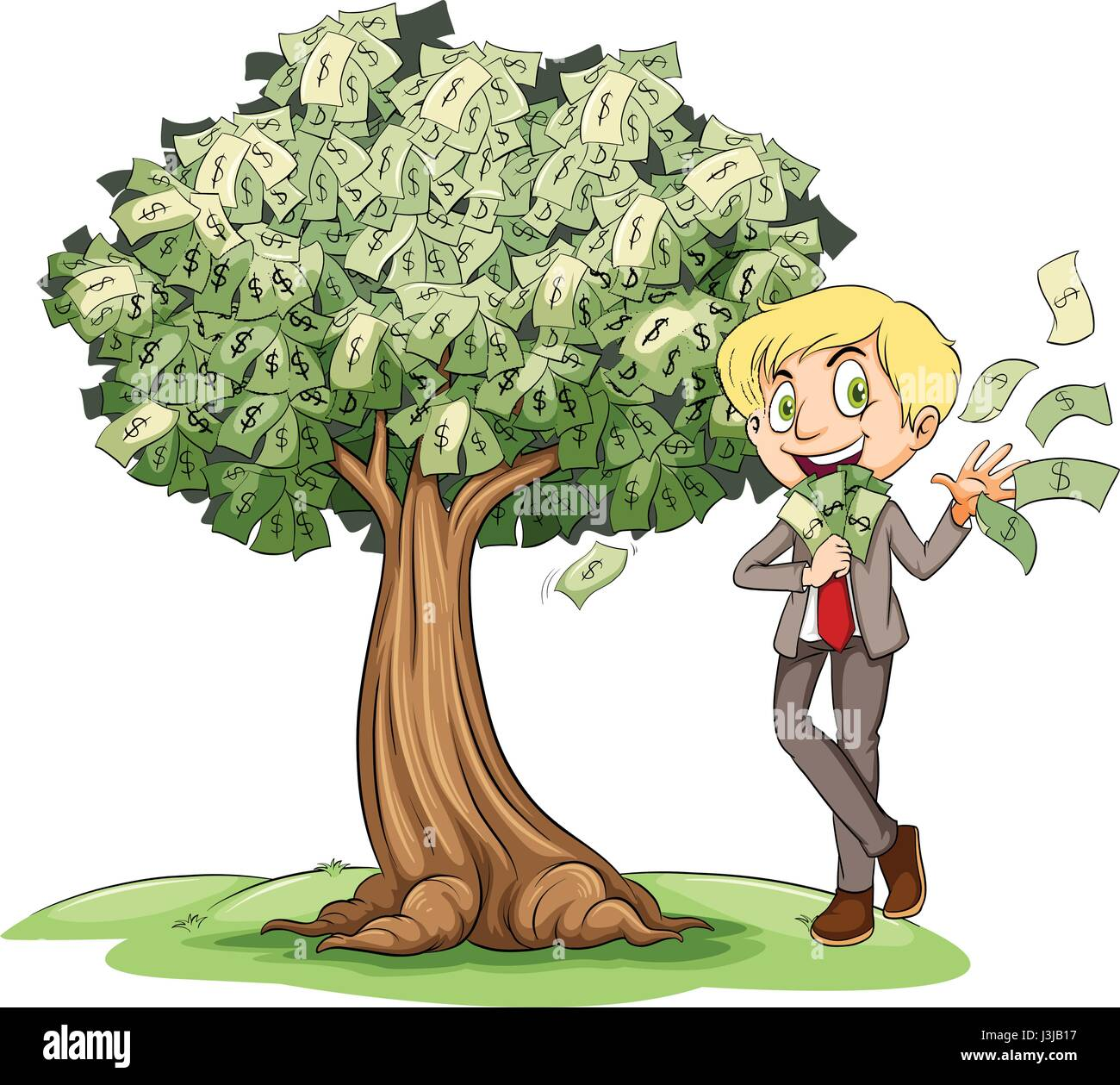 Rich man with money on tree illustration - Stock Vector