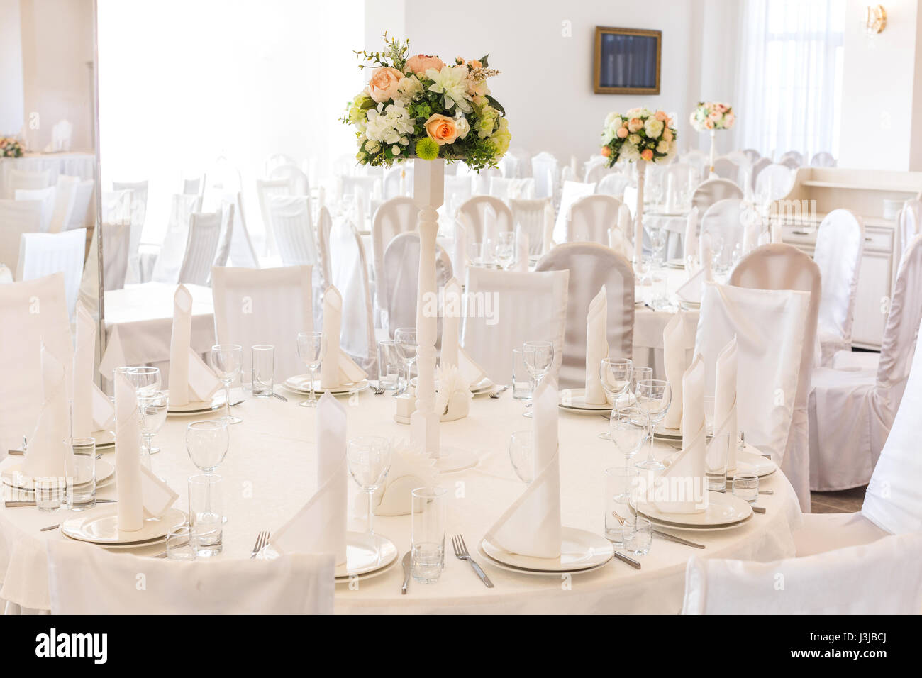 Festive Table Setting In Classic Style A White Restaurant Interior Setout Wedding Decor Concept Fine Art Expectation Of Guests