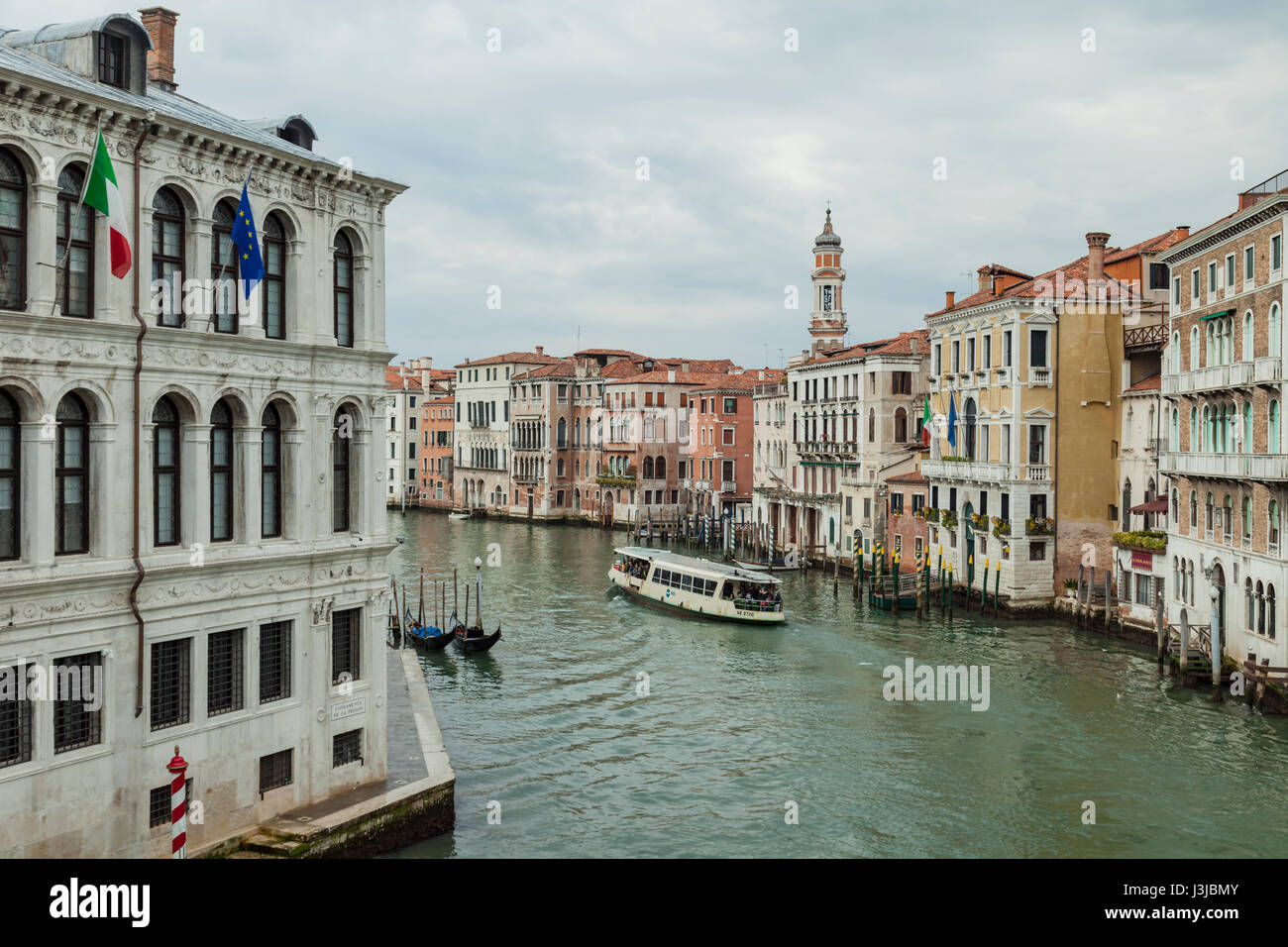 Rainy day on Grand Canal in Venice. - Stock Image