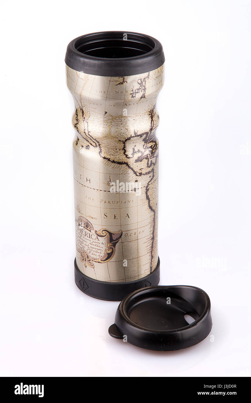 Travel mug with a world map on a white surface thermos tumbler travel mug with a world map on a white surface thermos tumbler isolated on white background gumiabroncs Choice Image