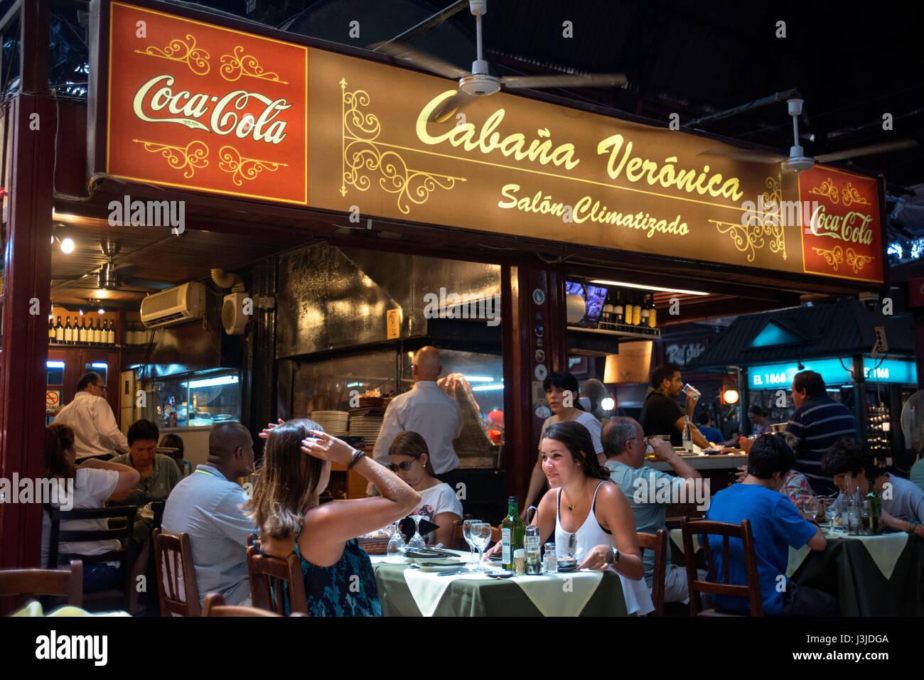 Cabaña Veronica, restaurant port indoor market Montevideo Uruguay - Stock Image