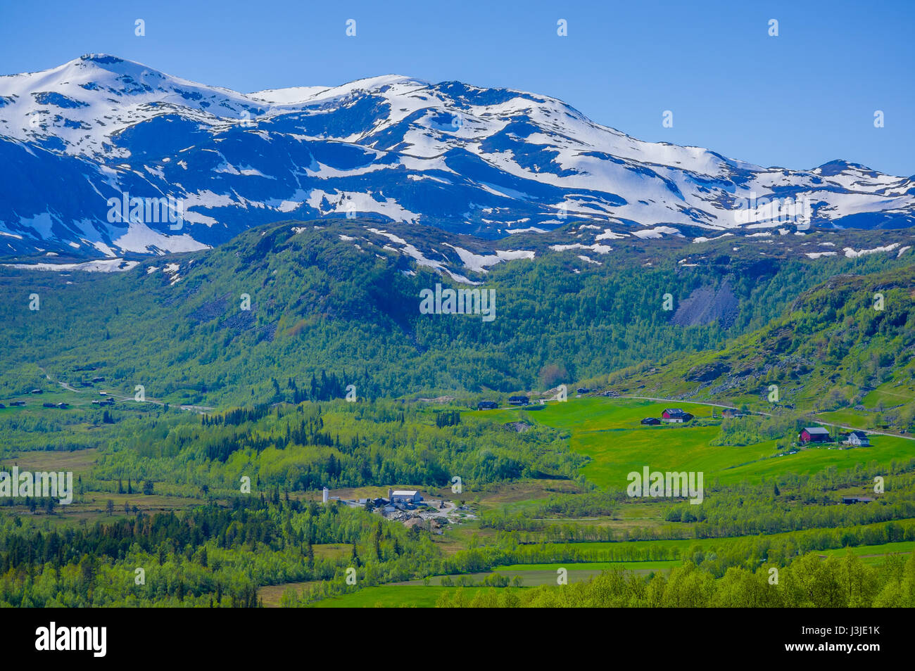 VALDRES, NORWAY - 6 JULY, 2015: Stunning nature on Valdresflya, green covered landscape stretches far as eye can - Stock Image