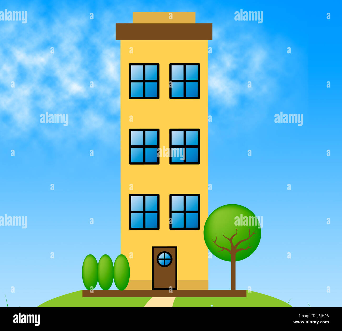 Apartment Meaning: Countryside Apartment Building Meaning Condo Property 3d
