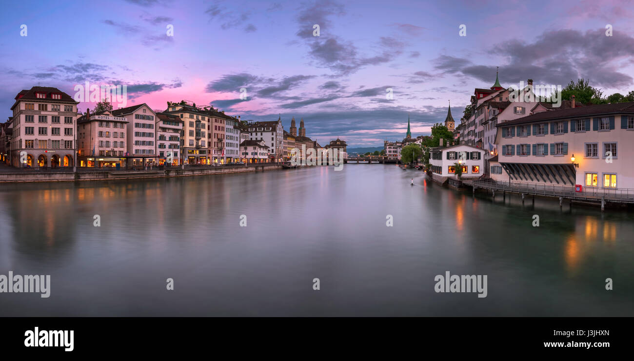 ZURICH, SWITZELAND - 04 June, 2016: Zurich Skyline and Limmat River. The river commences at the outfall of Lake - Stock Image