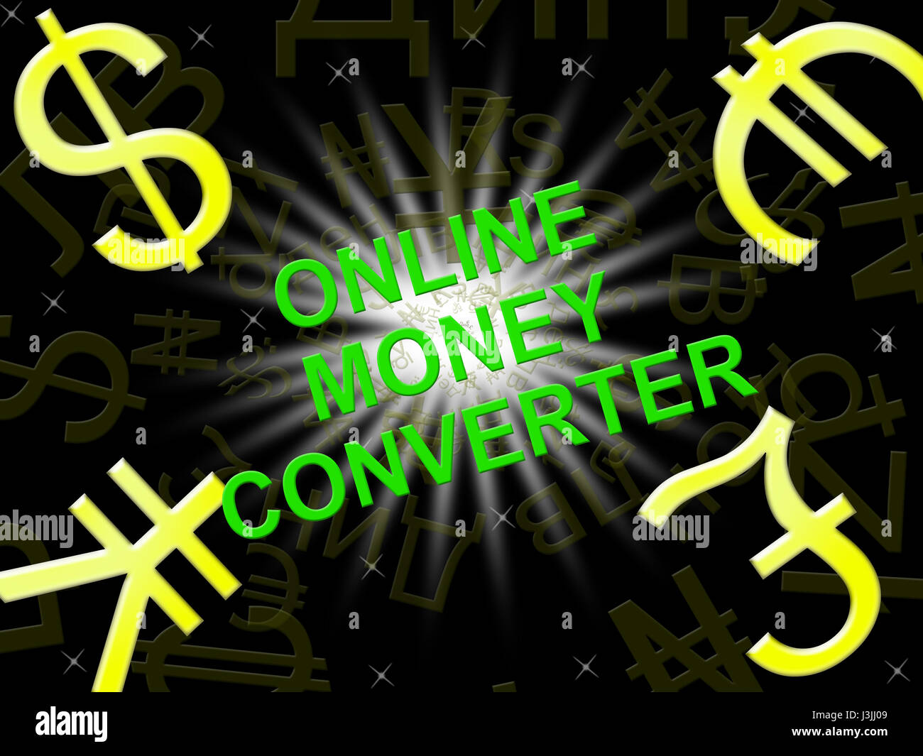 Online Money Converter Symbols Means Converting Cash 3d Illustration