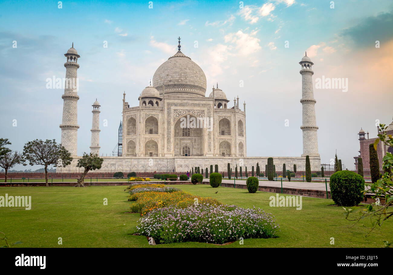 Taj Mahal - A UNESCO World heritage site at Agra India at sunrise. A marble mausoleum built on the banks of the - Stock Image