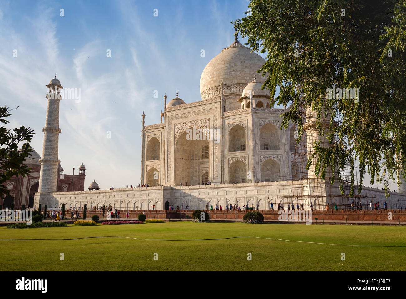 Taj Mahal white marble mausoleum built by emperor Shahjahan bears the heritage of Indian Mughal architecture. A - Stock Image