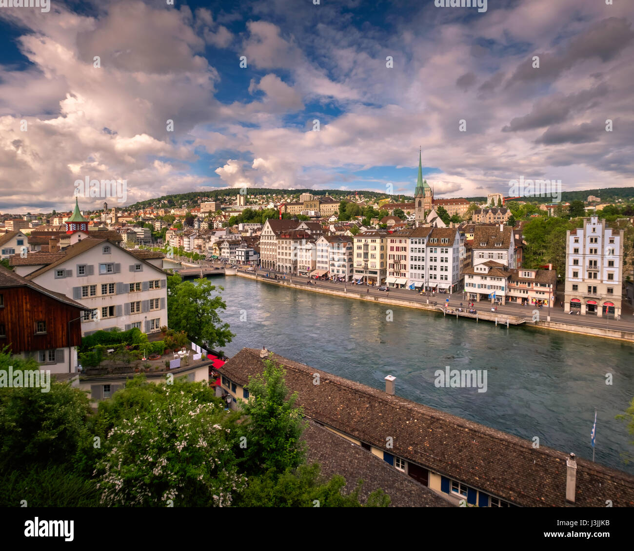 Aerial View of Zurich Skyline and Limmat River, Zurich, Switzerland - Stock Image