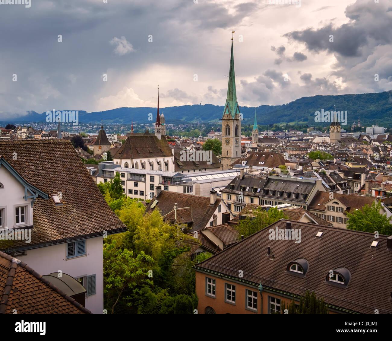 Aerial View of Zurich Skyline from University Vantage Point, Zurich, Switzerland - Stock Image