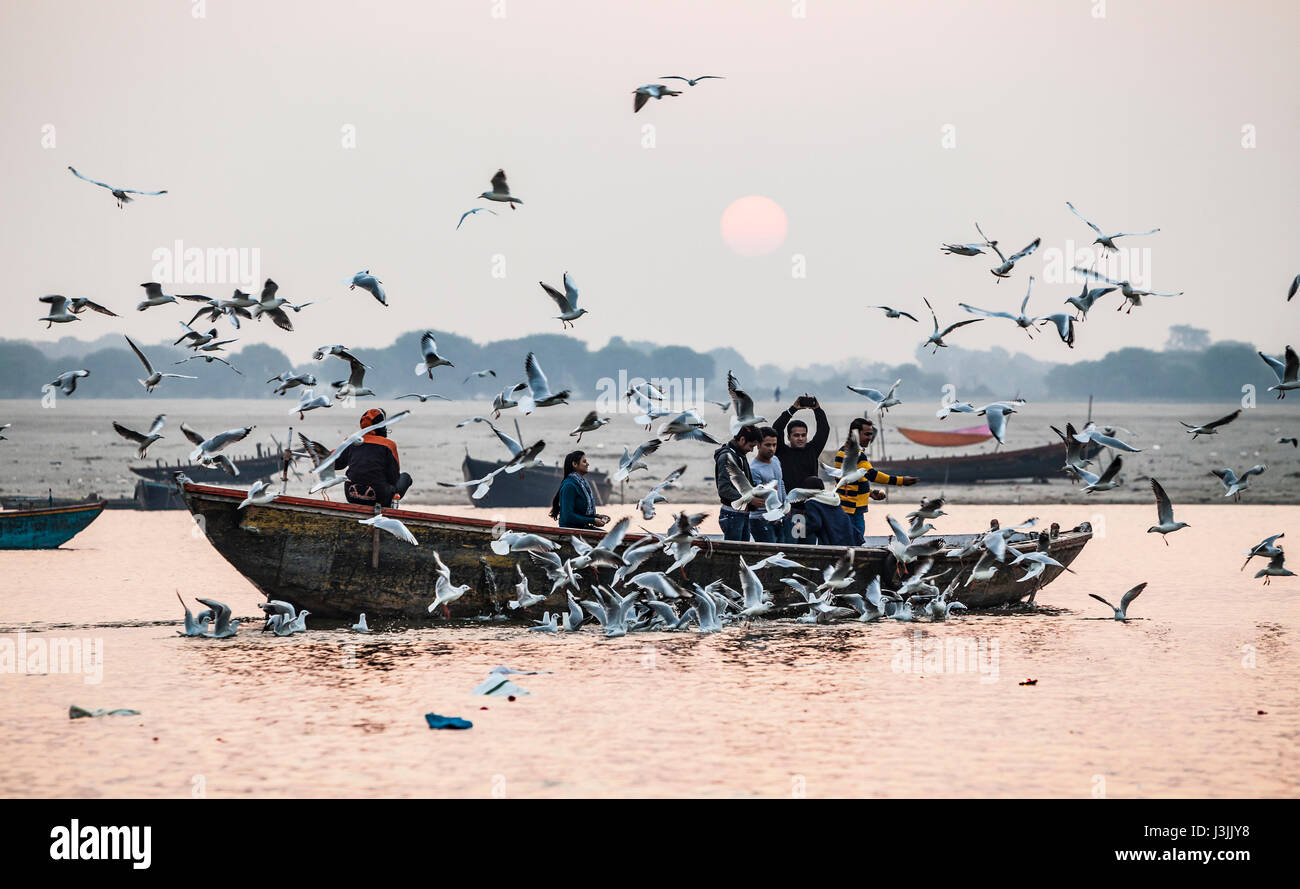Tourists feeding the birds on the Ganges river in Varanasi, India as the sun rises. - Stock Image