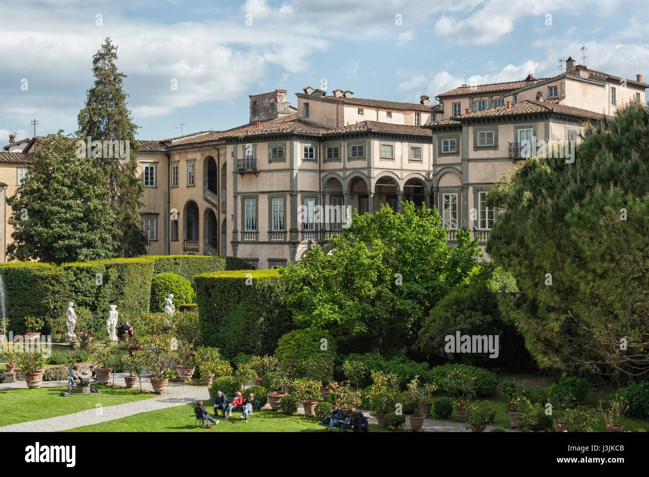 Garden of Palazzo Pfanner, Lucca, Tuscany, Italy - Stock Image