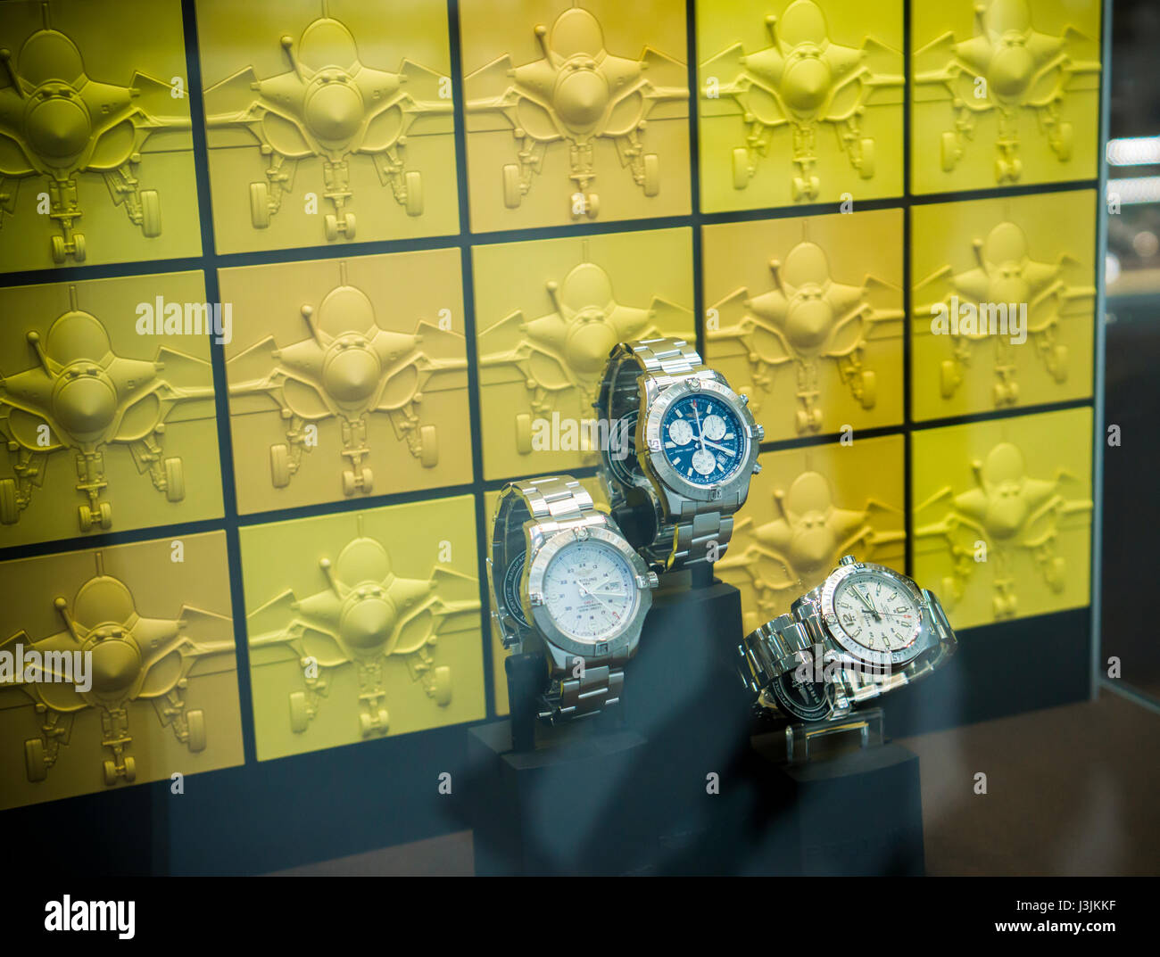 Window display in a Breitling retail store in New York on Saturday, April 29, 2017. CVC Capital Partners, a private - Stock Image