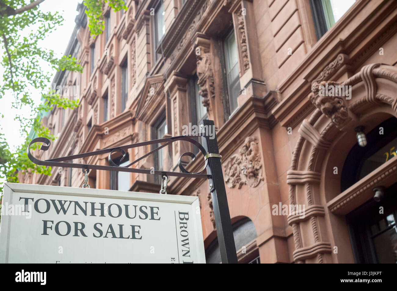 Sign for townhouse for sale in the Upper West Side nieghborhood of New York on Sunday, April 30, 2017. (© Richard - Stock Image