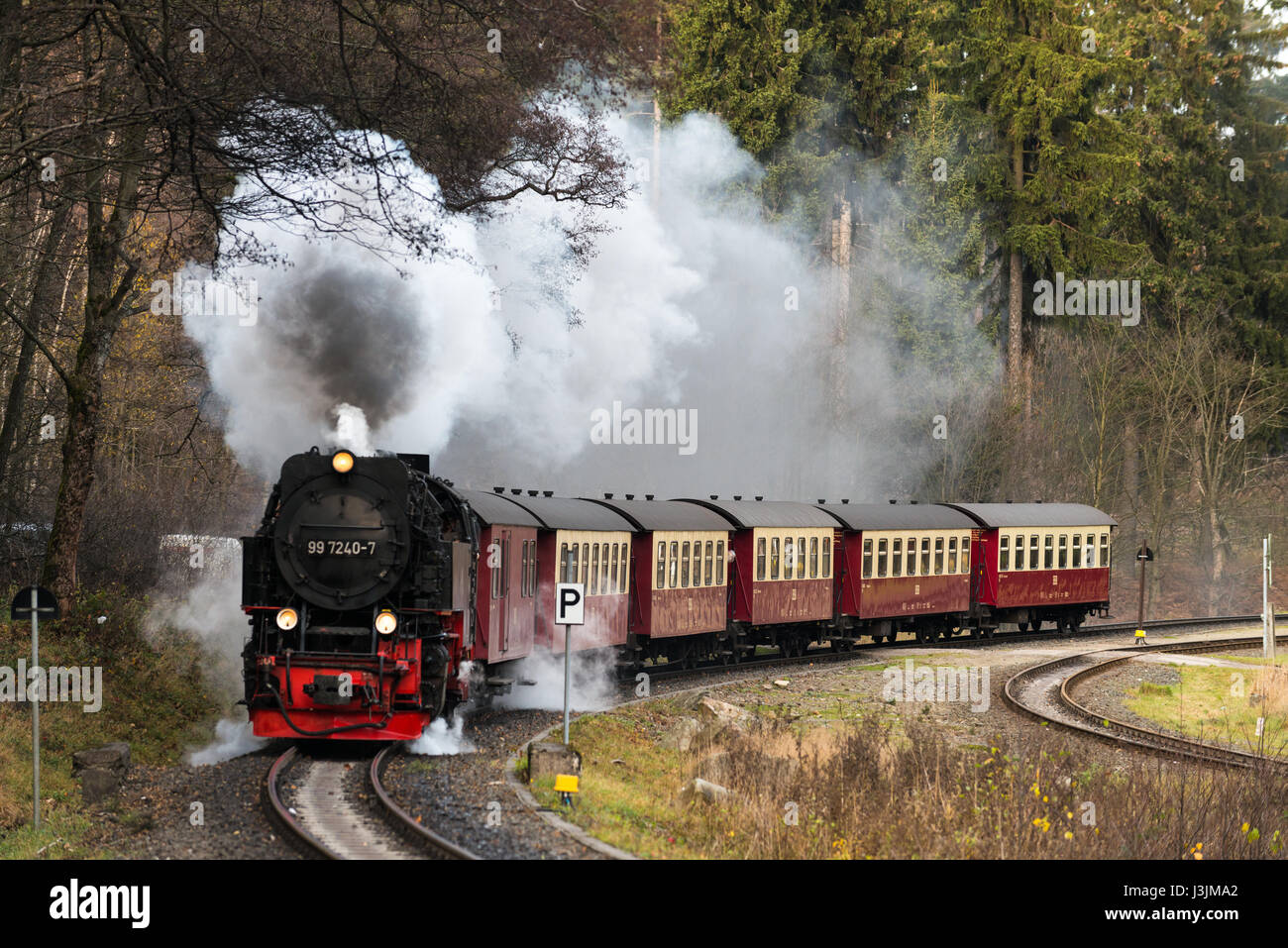 Harz montains, germany, Nov. 8.2015 Steam train with train in the mountains Stock Photo
