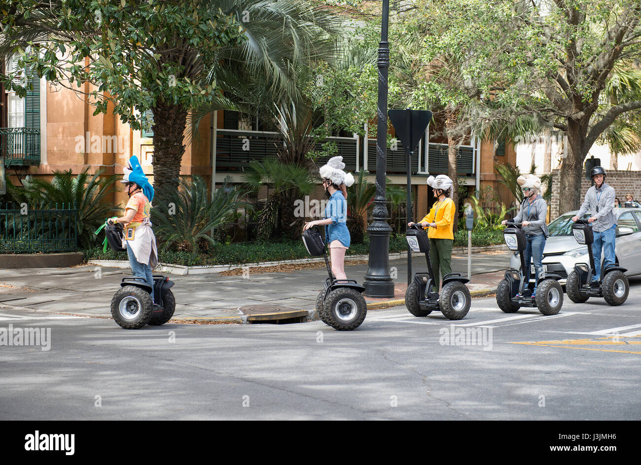 Adventure Tours in Motion, Segway tour in Savannah, Georgia - Stock Image