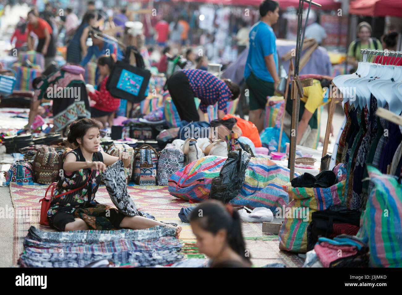 the nightmarket in the town of Luang Prabang in the north of Laos in Southeastasia. - Stock Image
