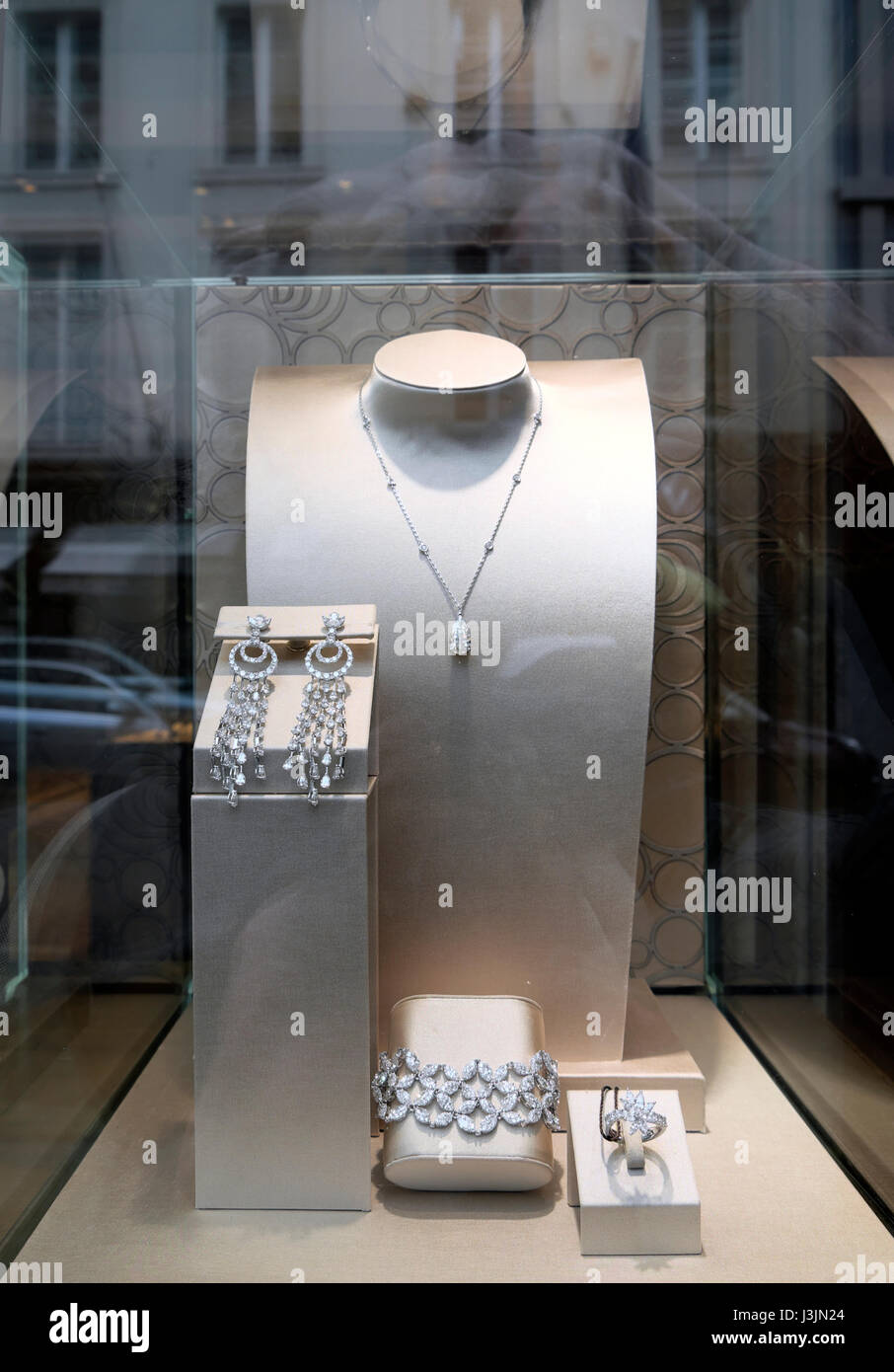 Jewels display in a jewellery shop jewellers window in New Bond