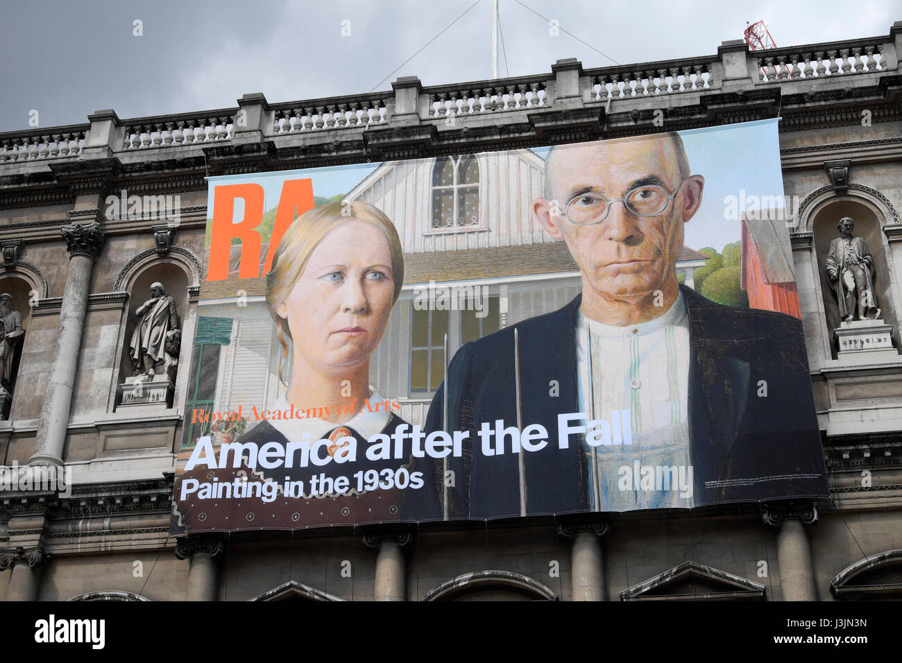 "Royal Academy poster  ""America after the Fall"" on the exterior facade of the building  April 2017  KATHY DEWITT Stock Photo"