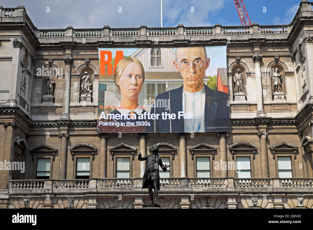 Royal Academy poster  'America after the Fall' on the exterior facade of the building  April 2017  KATHY - Stock Image