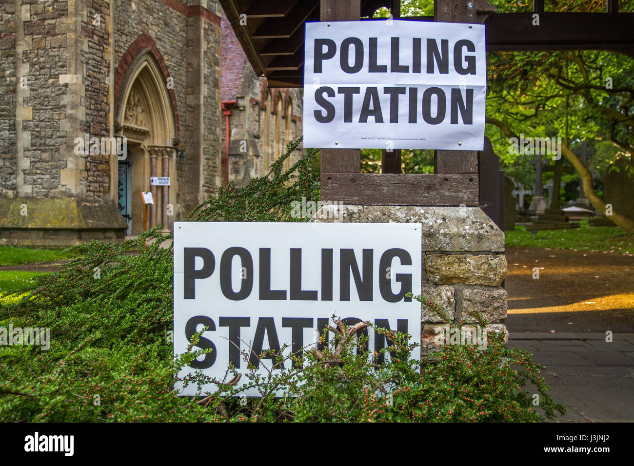 Polling poll station general election sign UK - Stock Image