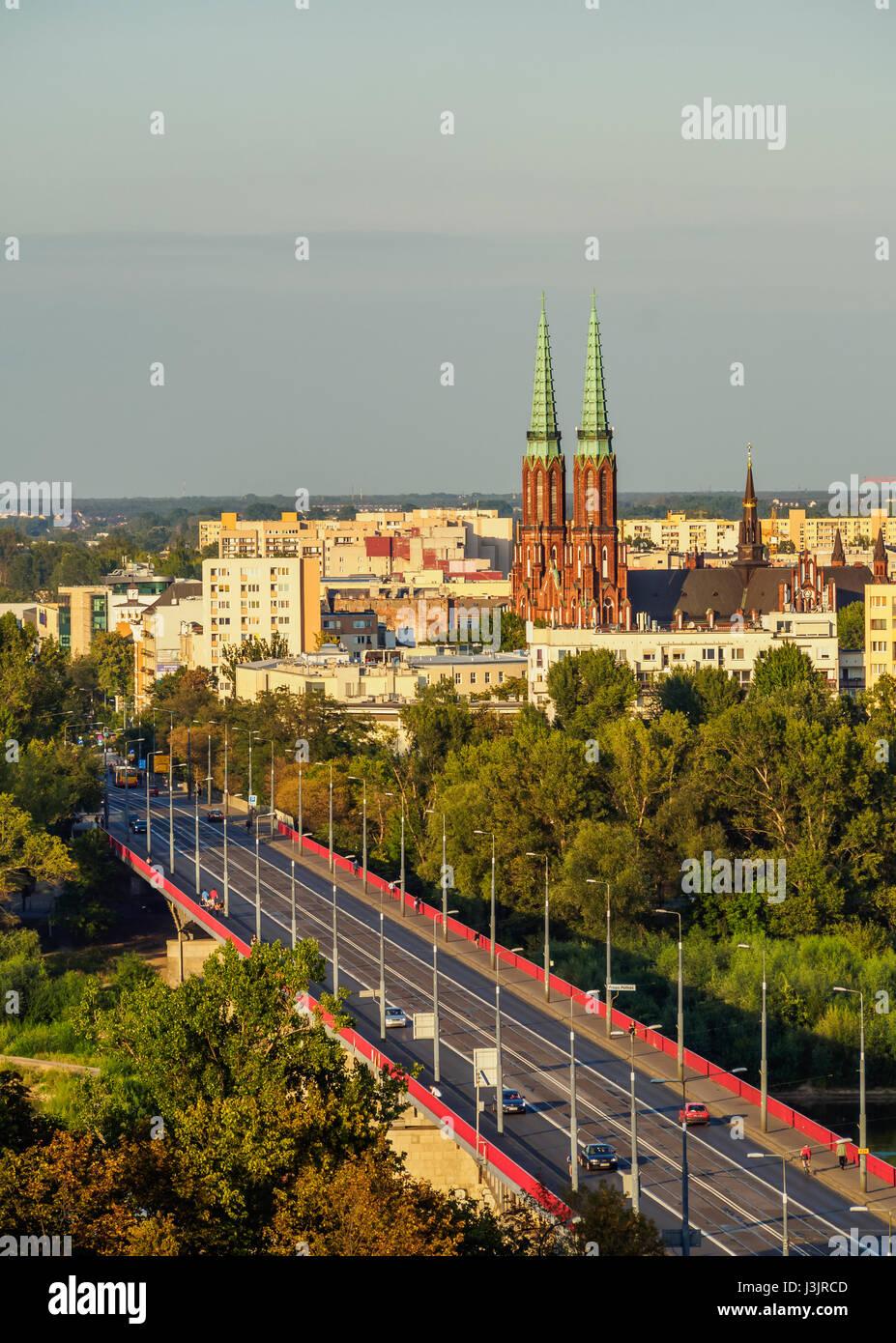 Poland, Masovian Voivodeship, Warsaw, View towards the Praga District and St. Florian's Cathedral - Stock Image
