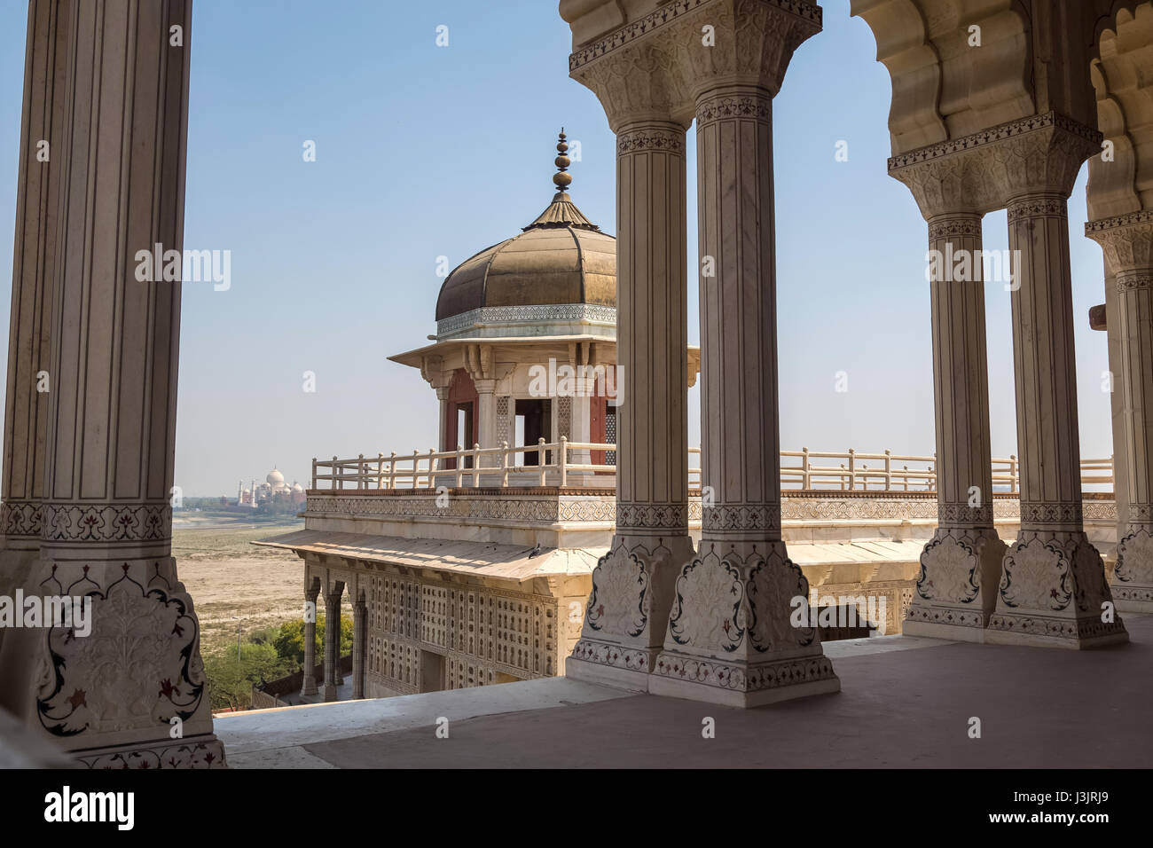 Agra Fort Musamman burj dome with white marble architecture and carvings. Red Fort Agra is a UNESCO World Heritage - Stock Image